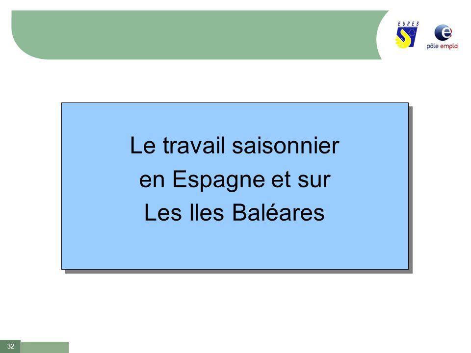 Le travail saisonnier en Espagne et sur Les Iles Baléares