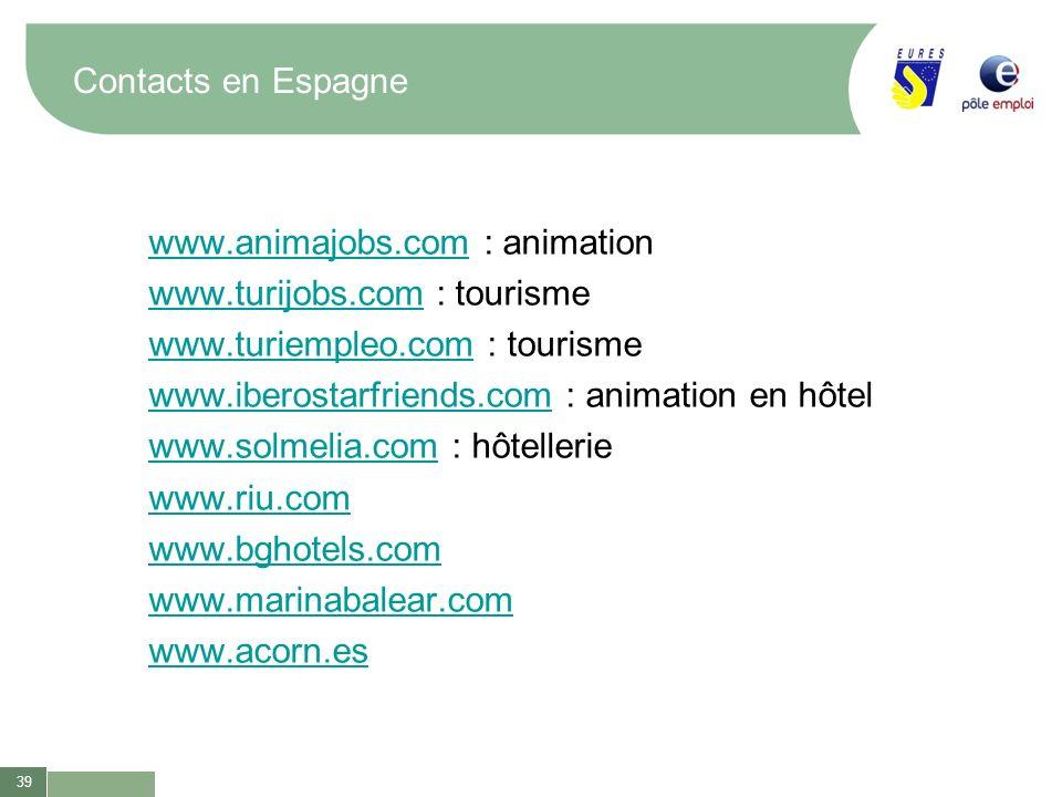 Contacts en Espagne www.animajobs.com : animation. www.turijobs.com : tourisme. www.turiempleo.com : tourisme.