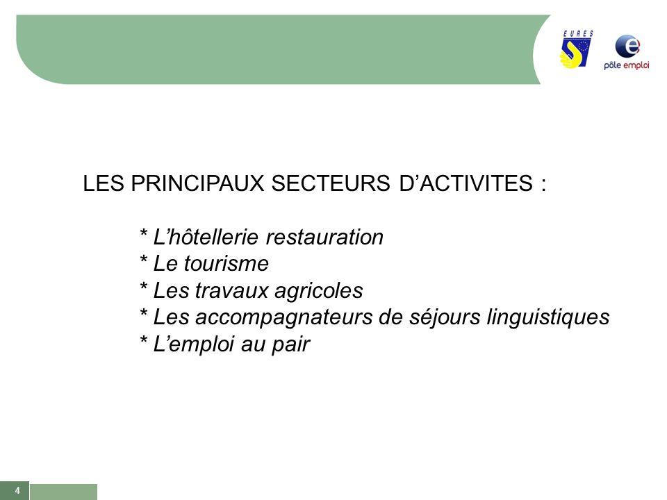 LES PRINCIPAUX SECTEURS D'ACTIVITES :