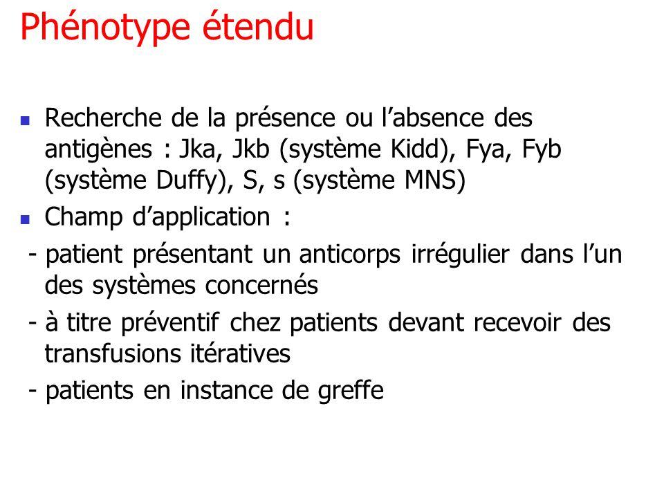 Phénotype étenduRecherche de la présence ou l'absence des antigènes : Jka, Jkb (système Kidd), Fya, Fyb (système Duffy), S, s (système MNS)