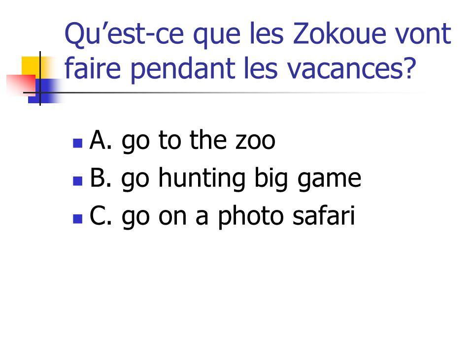Qu'est-ce que les Zokoue vont faire pendant les vacances