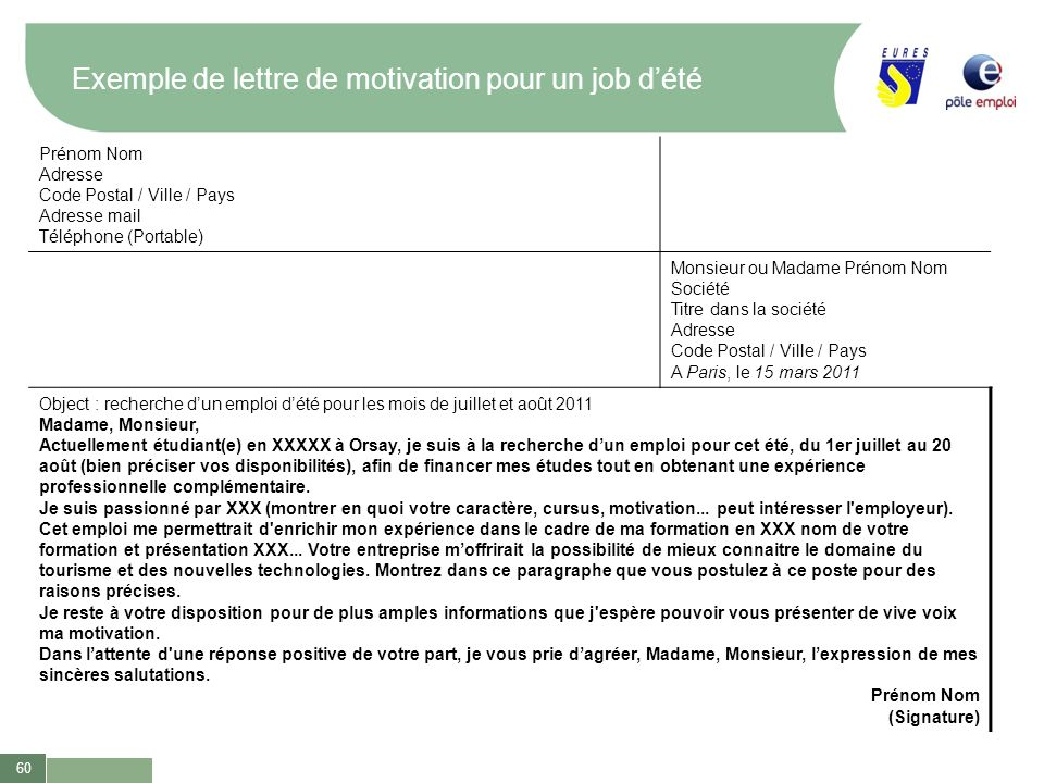 exemple de lettre de motivation job d  u00e9t u00e9 exemples de cv