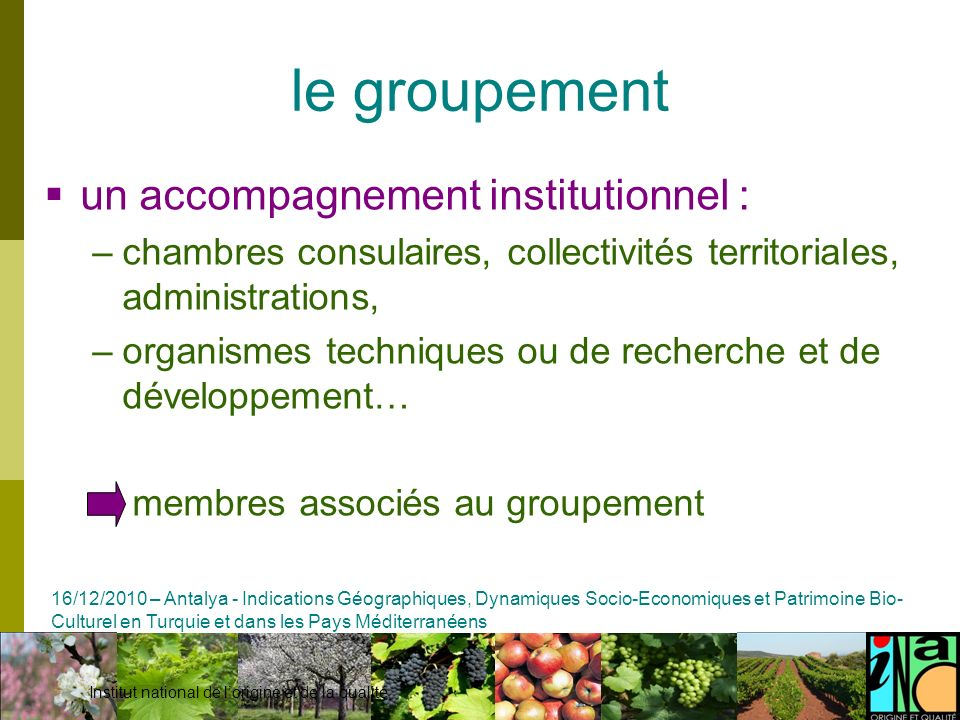 le groupement un accompagnement institutionnel :