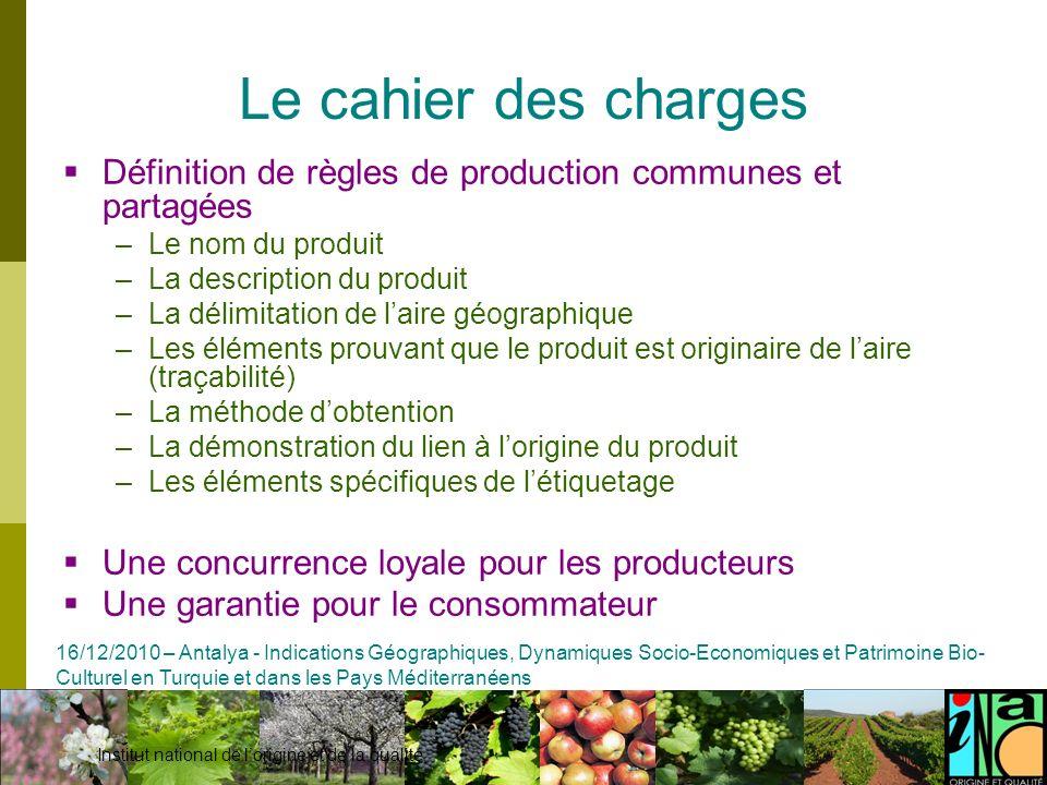 Le cahier des charges Définition de règles de production communes et partagées. Le nom du produit.