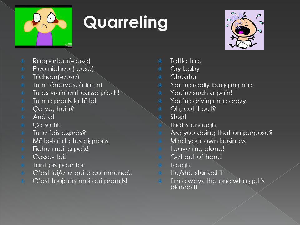 Quarreling Rapporteur(-euse) Pleurnicheur(-euse) Tricheur(-euse)