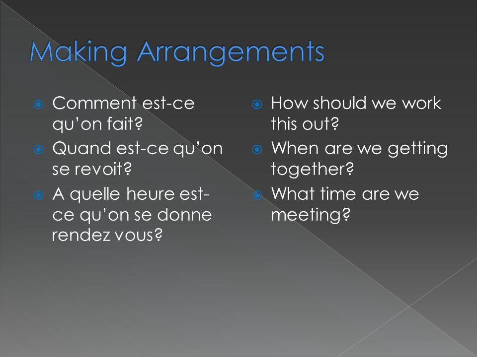 Making Arrangements Comment est-ce qu'on fait
