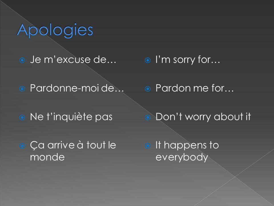 Apologies Je m'excuse de… Pardonne-moi de… Ne t'inquiète pas