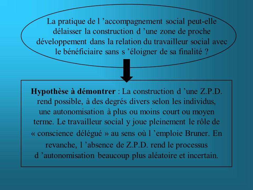 La pratique de l 'accompagnement social peut-elle délaisser la construction d 'une zone de proche développement dans la relation du travailleur social avec le bénéficiaire sans s 'éloigner de sa finalité