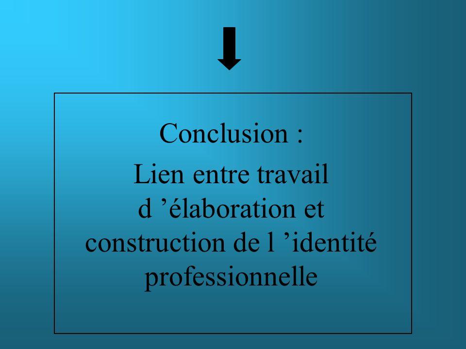 Conclusion : Lien entre travail d 'élaboration et construction de l 'identité professionnelle