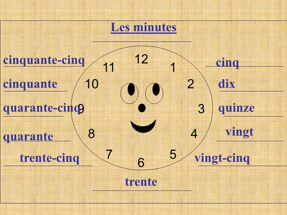 12 6. 9. 3. 1. 2. 4. 5. 7. 8. 10. 11. Les minutes. cinquante-cinq. cinq. cinquante. dix.