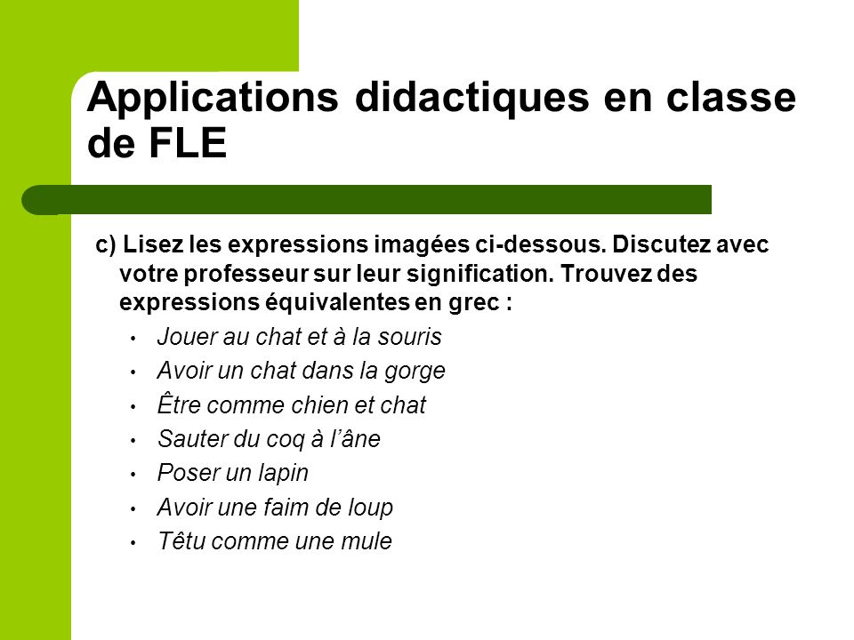 Applications didactiques en classe de FLE