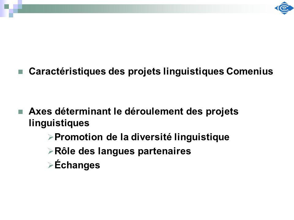 Caractéristiques des projets linguistiques Comenius