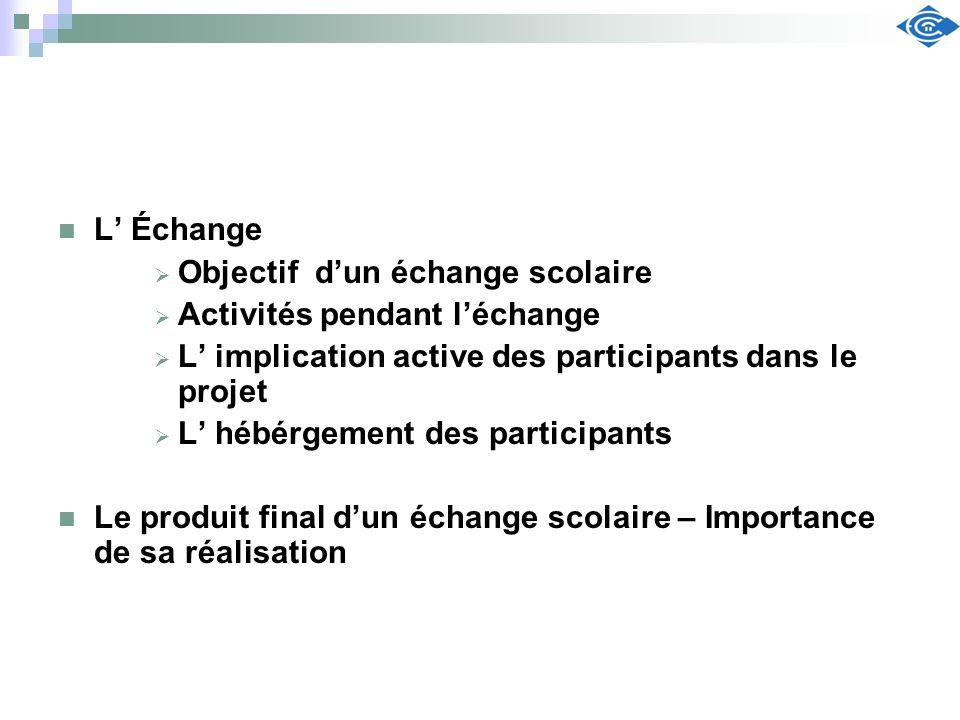 L' Échange Objectif d'un échange scolaire. Activités pendant l'échange. L' implication active des participants dans le projet.