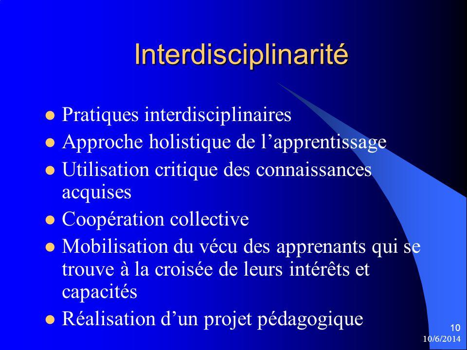 Interdisciplinarité Pratiques interdisciplinaires