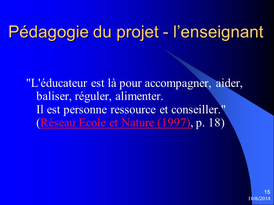 Pédagogie du projet - l'enseignant