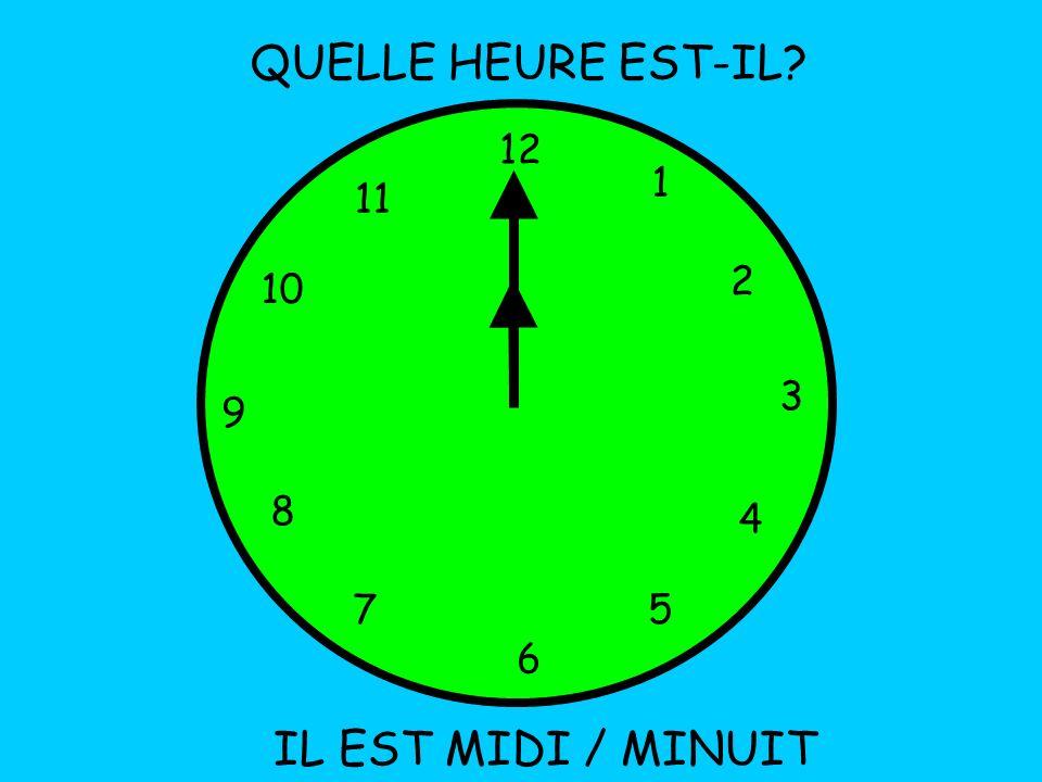 QUELLE HEURE EST-IL 12 1 11 2 10 3 9 8 4 7 5 6 IL EST MIDI / MINUIT