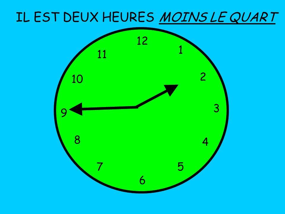 IL EST DEUX HEURES MOINS LE QUART 12 1 11 2 10 3 9 8 4 7 5 6