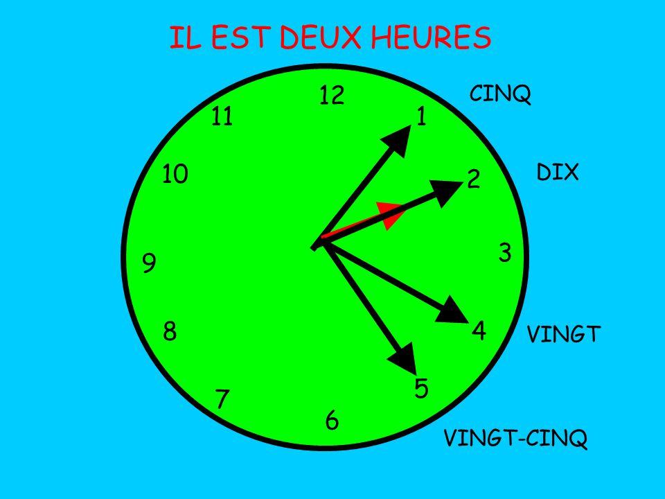IL EST DEUX HEURES 12 11 1 10 2 3 9 8 4 5 7 6 CINQ DIX VINGT