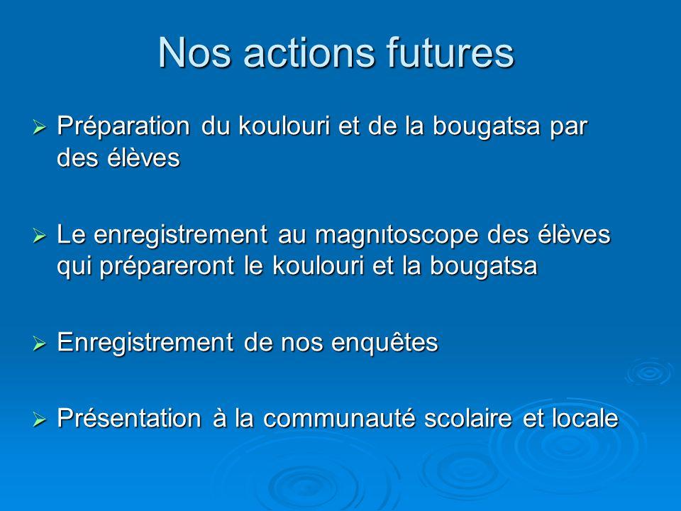 Nos actions futures Préparation du koulouri et de la bougatsa par des élèves.