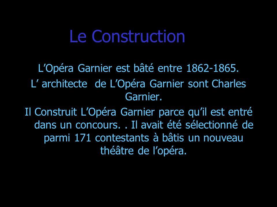 Le Construction L'Opéra Garnier est bâté entre 1862-1865.