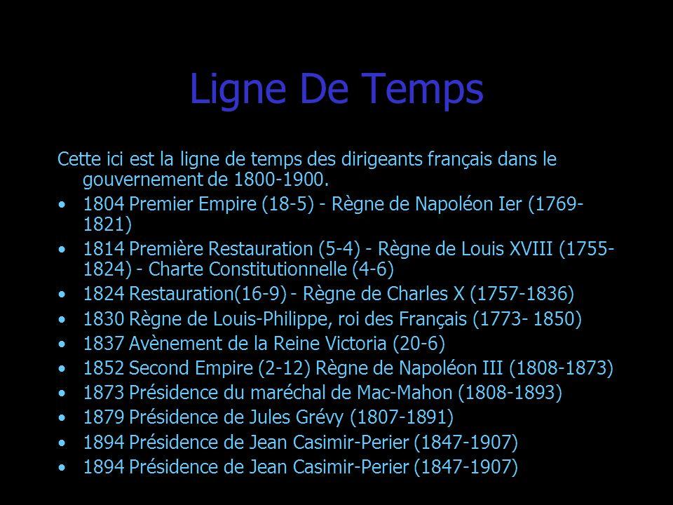 Ligne De TempsCette ici est la ligne de temps des dirigeants français dans le gouvernement de 1800-1900.