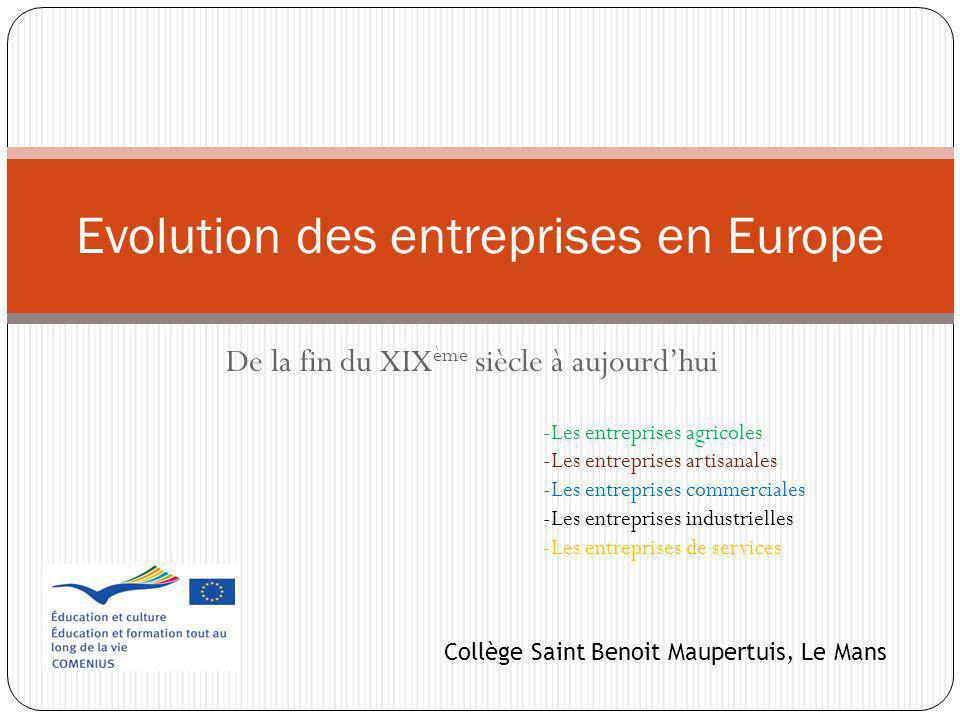 Evolution des entreprises en Europe