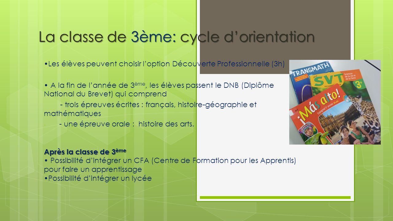 La classe de 3ème: cycle d'orientation