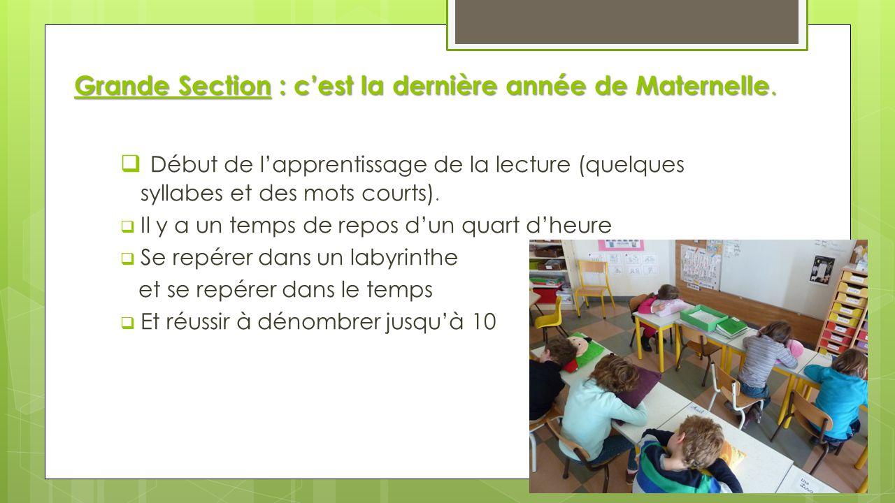 Grande Section : c'est la dernière année de Maternelle.