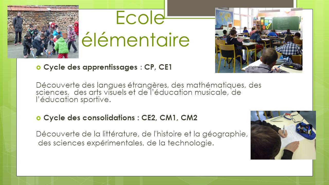 Ecole élémentaire Cycle des apprentissages : CP, CE1