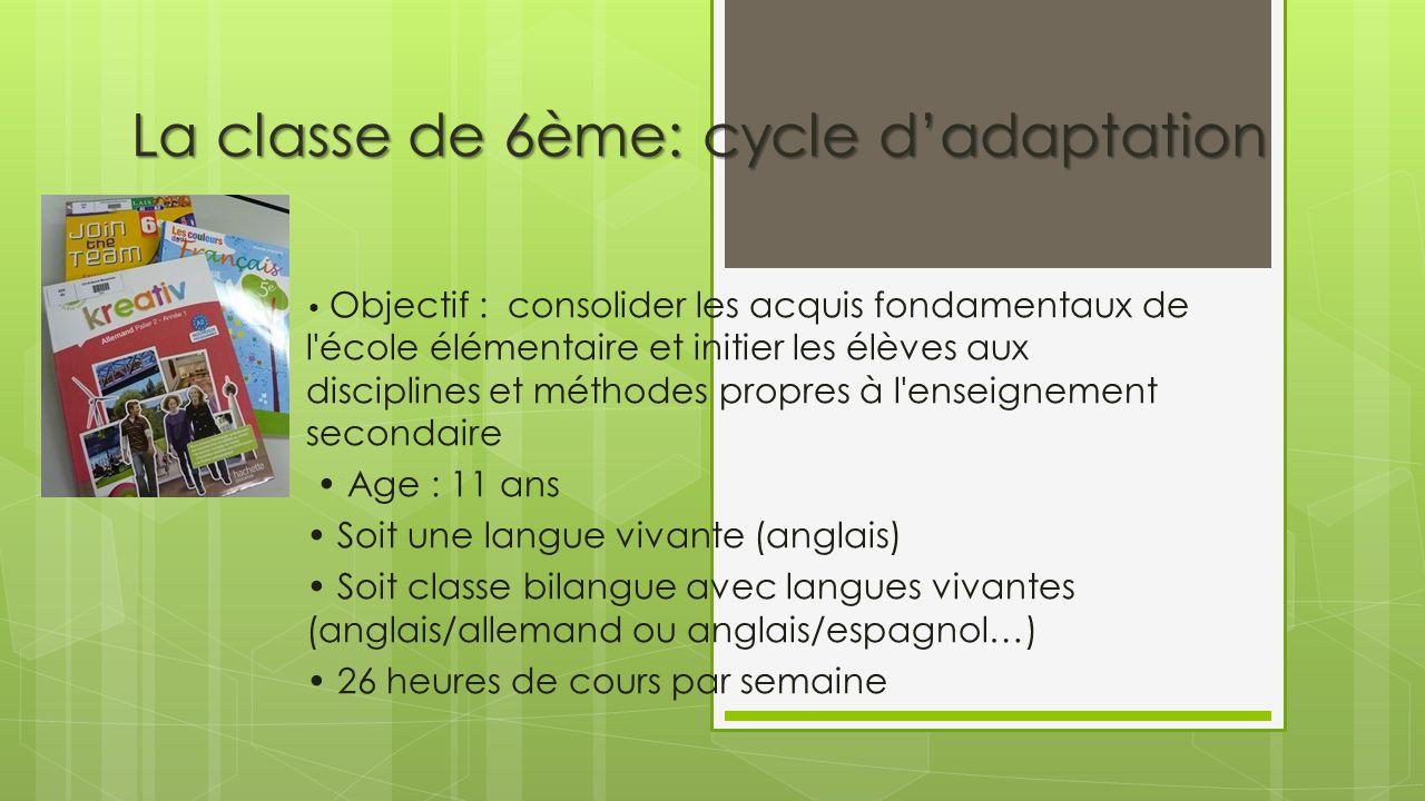 La classe de 6ème: cycle d'adaptation