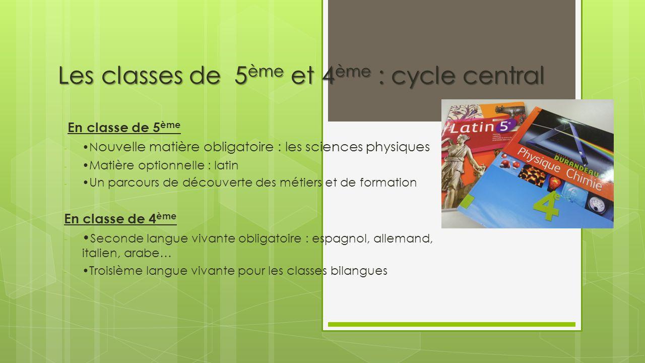 Les classes de 5ème et 4ème : cycle central