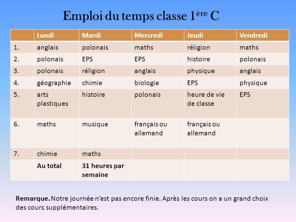 Emploi du temps classe 1ère C