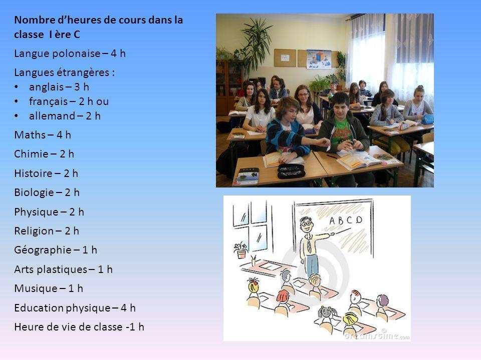 Nombre d'heures de cours dans la classe I ère C