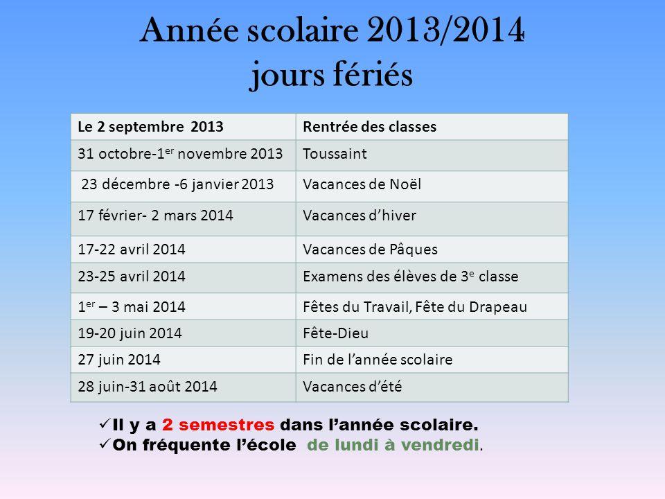 Année scolaire 2013/2014 jours fériés