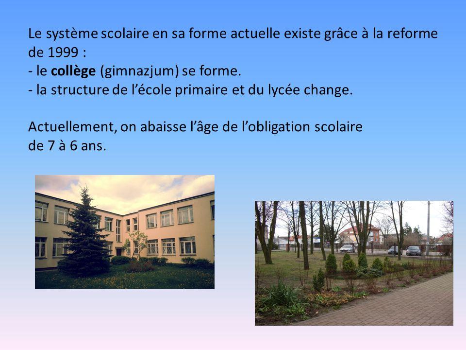 Le système scolaire en sa forme actuelle existe grâce à la reforme de 1999 : - le collège (gimnazjum) se forme.