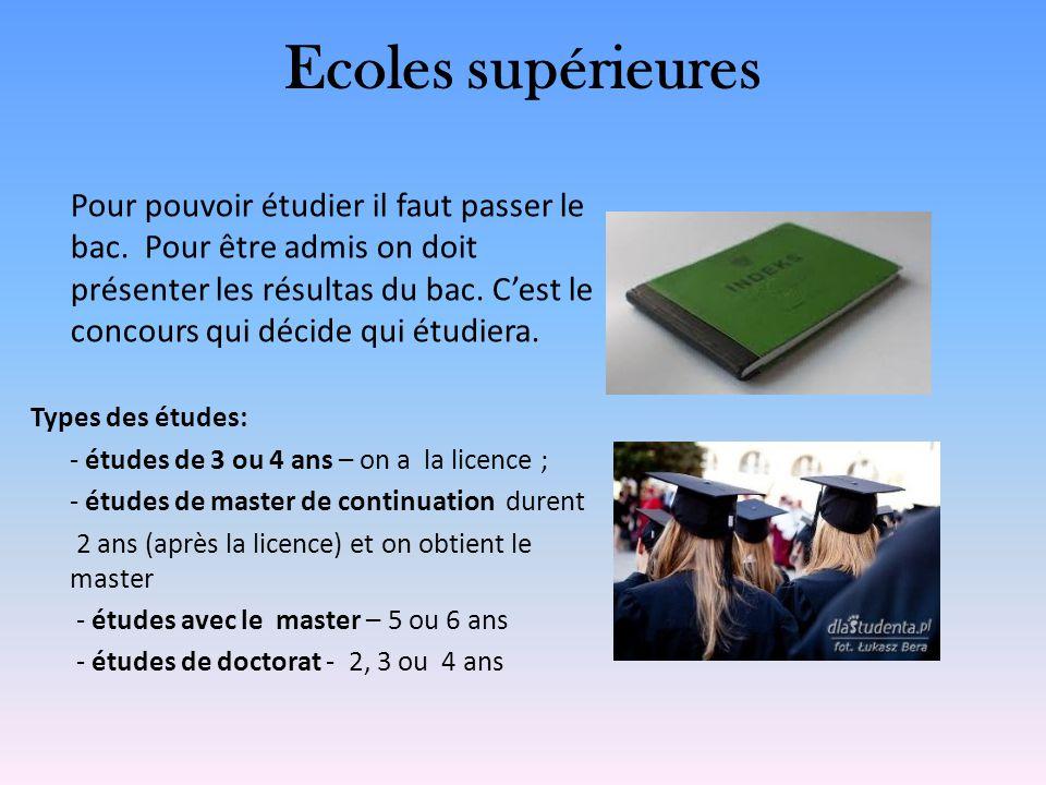 Ecoles supérieures