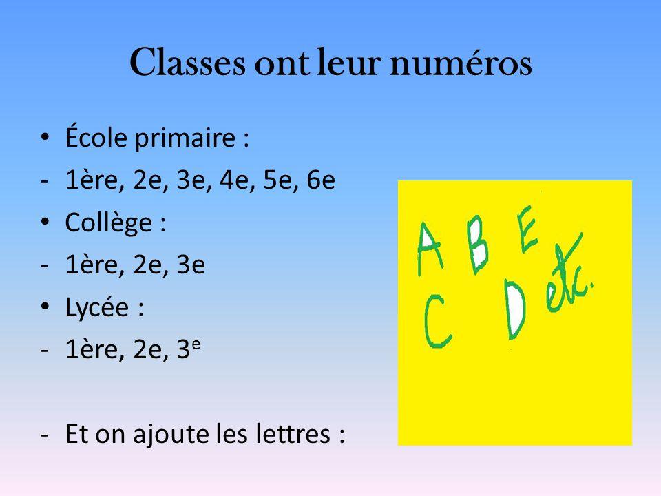 Classes ont leur numéros