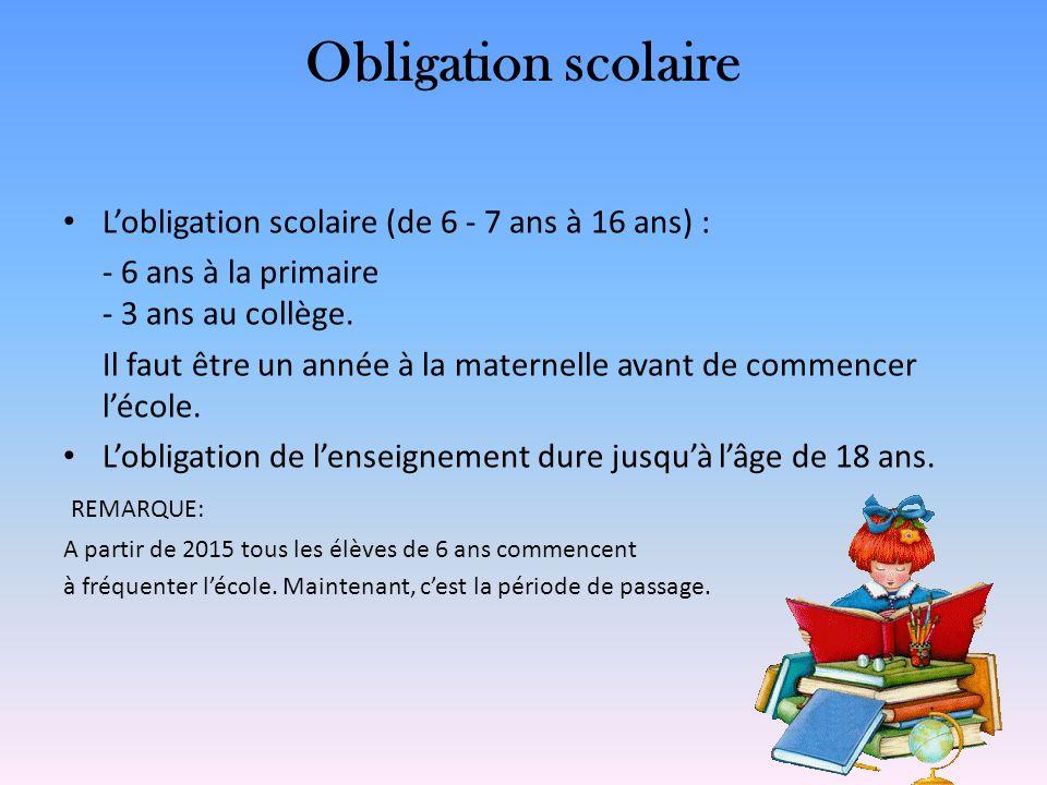 Obligation scolaire L'obligation scolaire (de 6 - 7 ans à 16 ans) :