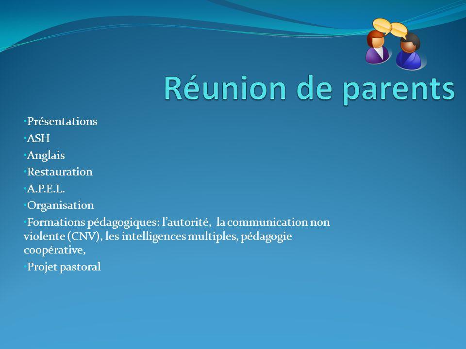 Réunion de parents Présentations ASH Anglais Restauration A.P.E.L.