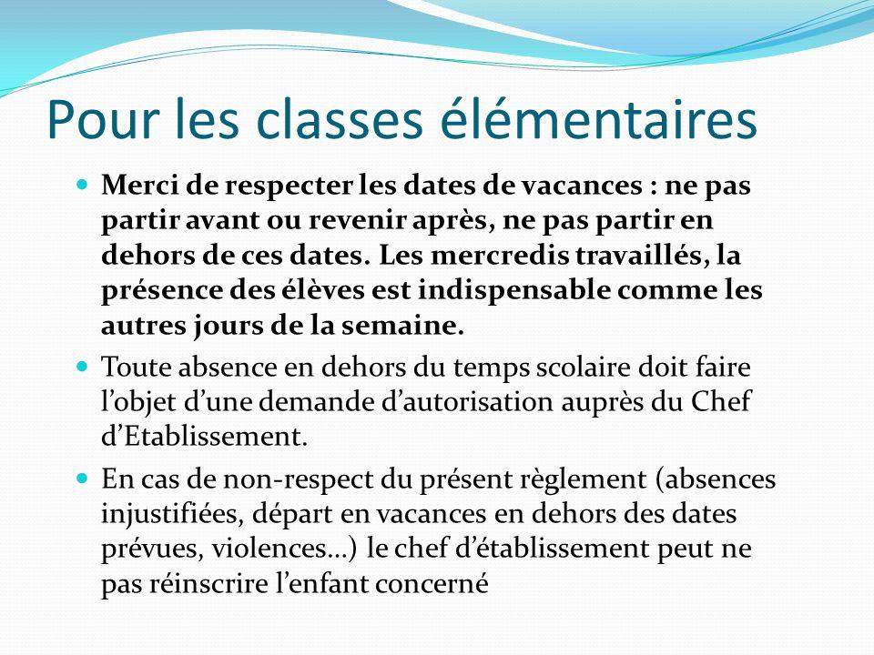 Pour les classes élémentaires
