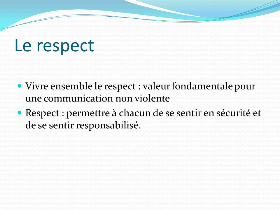 Le respect Vivre ensemble le respect : valeur fondamentale pour une communication non violente.