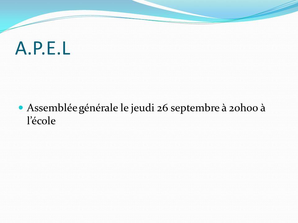A.P.E.L Assemblée générale le jeudi 26 septembre à 20h00 à l'école
