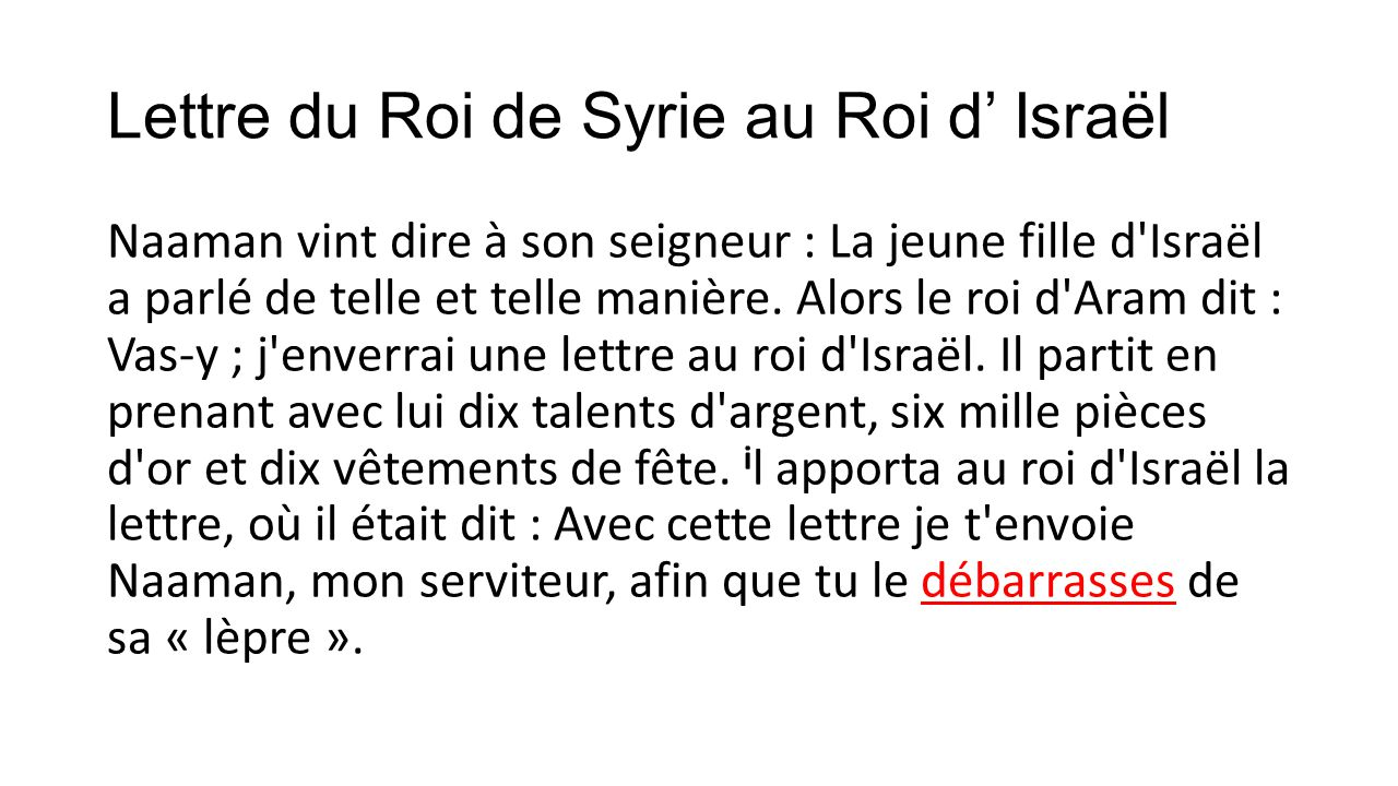 Lettre du Roi de Syrie au Roi d' Israël