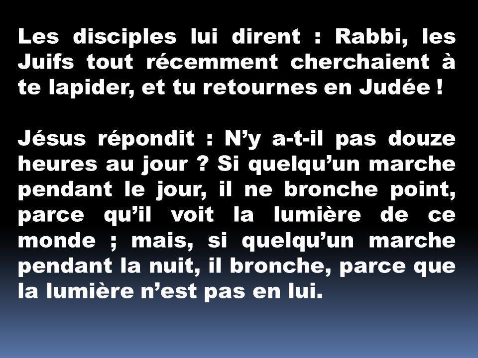 Les disciples lui dirent : Rabbi, les Juifs tout récemment cherchaient à te lapider, et tu retournes en Judée !