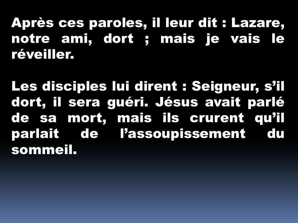 Après ces paroles, il leur dit : Lazare, notre ami, dort ; mais je vais le réveiller.