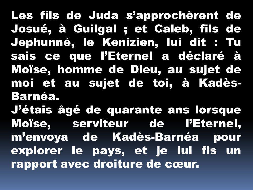 Les fils de Juda s'approchèrent de Josué, à Guilgal ; et Caleb, fils de Jephunné, le Kenizien, lui dit : Tu sais ce que l'Eternel a déclaré à Moïse, homme de Dieu, au sujet de moi et au sujet de toi, à Kadès-Barnéa.