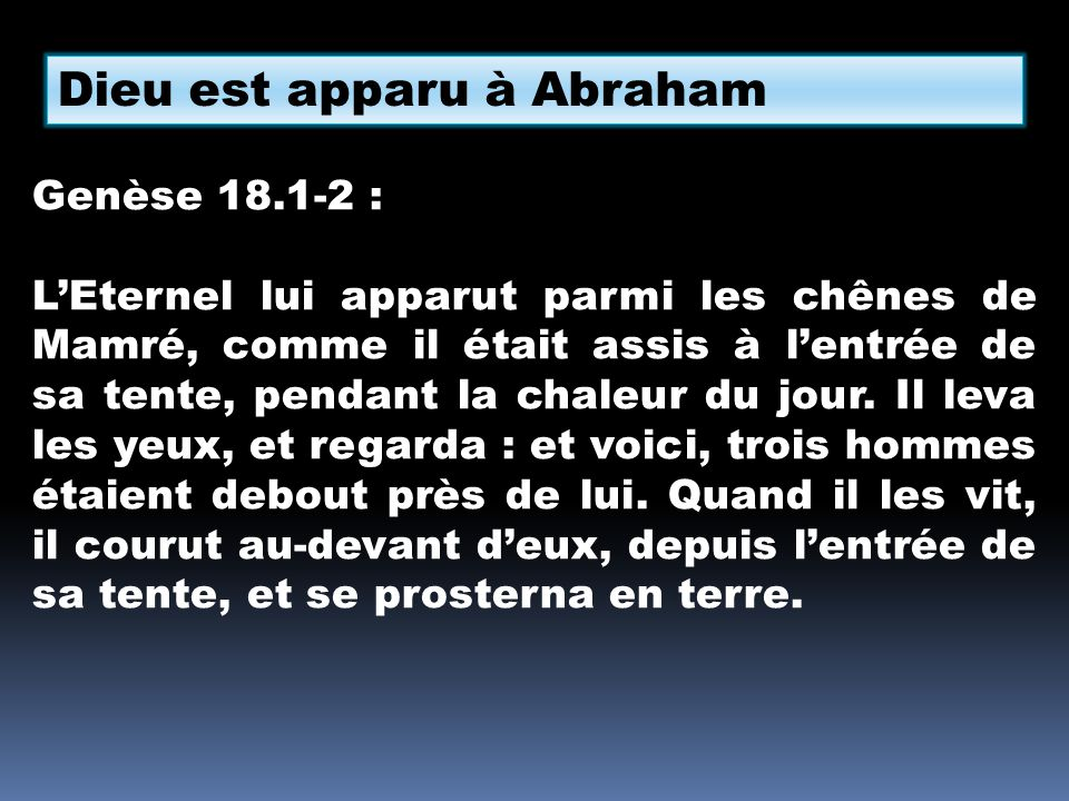 Dieu est apparu à Abraham