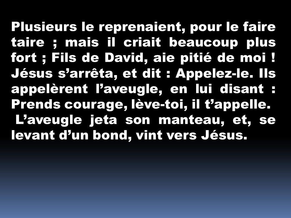 Plusieurs le reprenaient, pour le faire taire ; mais il criait beaucoup plus fort ; Fils de David, aie pitié de moi ! Jésus s'arrêta, et dit : Appelez-le. Ils appelèrent l'aveugle, en lui disant : Prends courage, lève-toi, il t'appelle.