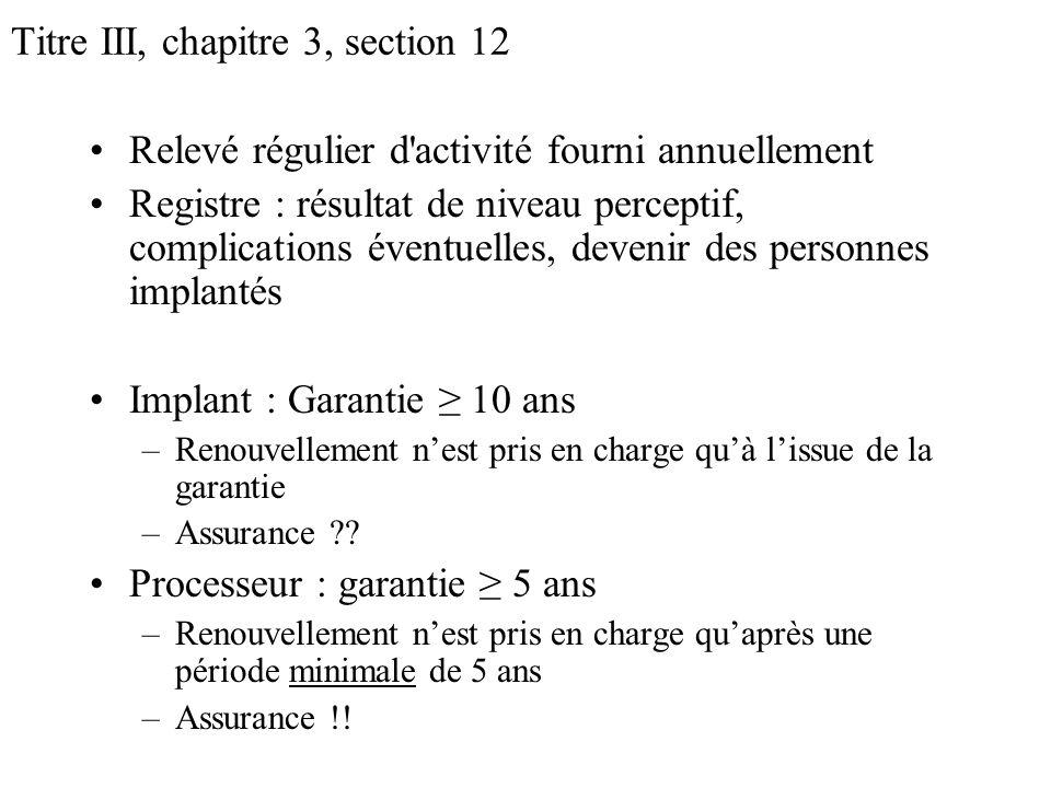 Titre III, chapitre 3, section 12