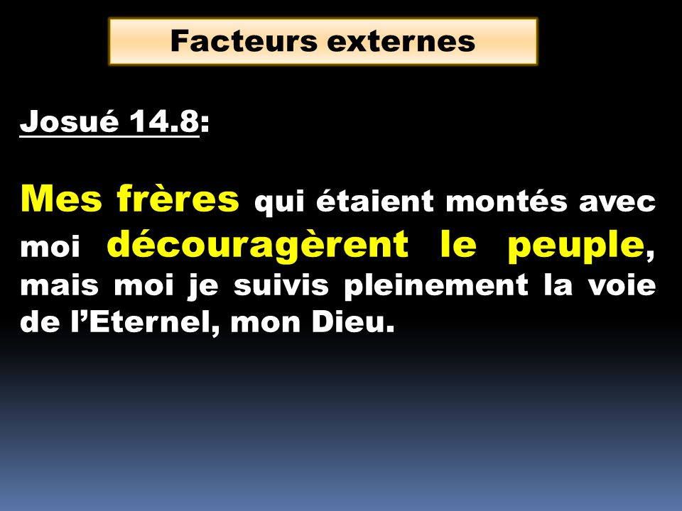Facteurs externes Josué 14.8:
